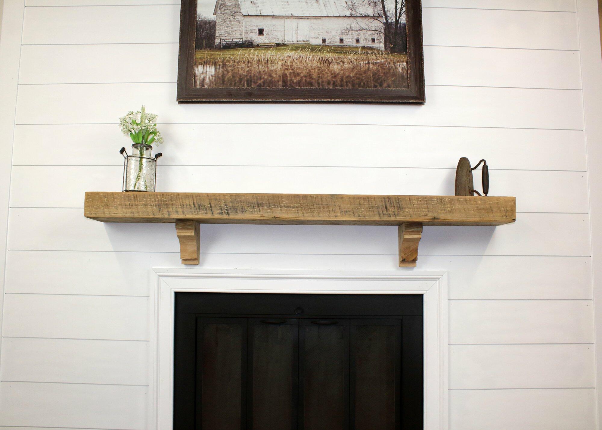 Reclaimed Barn Wood Fireplace Mantel Shelves 4x8 Modern Timber Craft