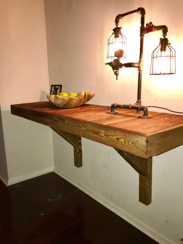 wall mount shelf with wooden brackets