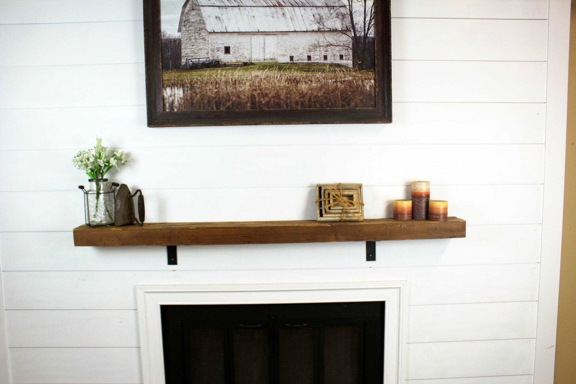 Rustic wood mantel