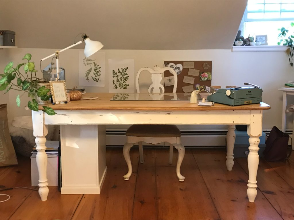 wooden writing desk in home office