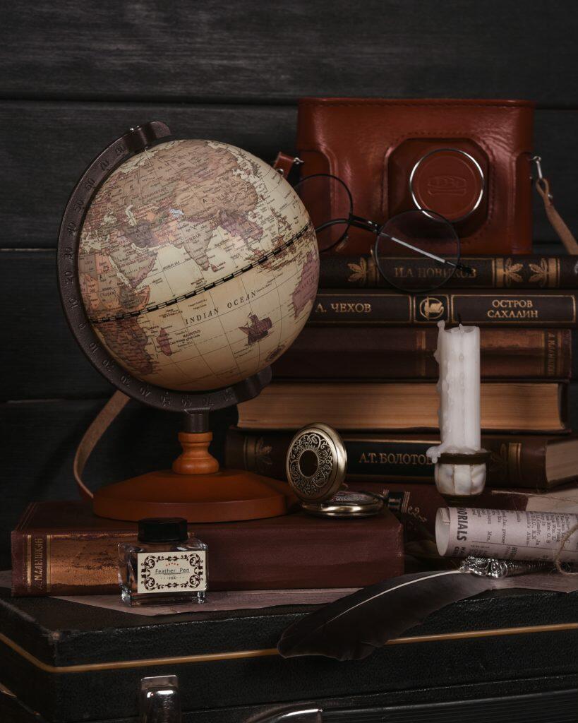 Antique globe and camera case